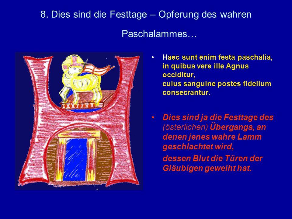 8. Dies sind die Festtage – Opferung des wahren Paschalammes…
