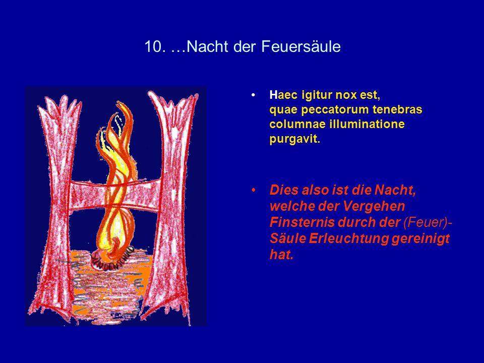 10. …Nacht der FeuersäuleHaec igitur nox est, quae peccatorum tenebras columnae illuminatione purgavit.