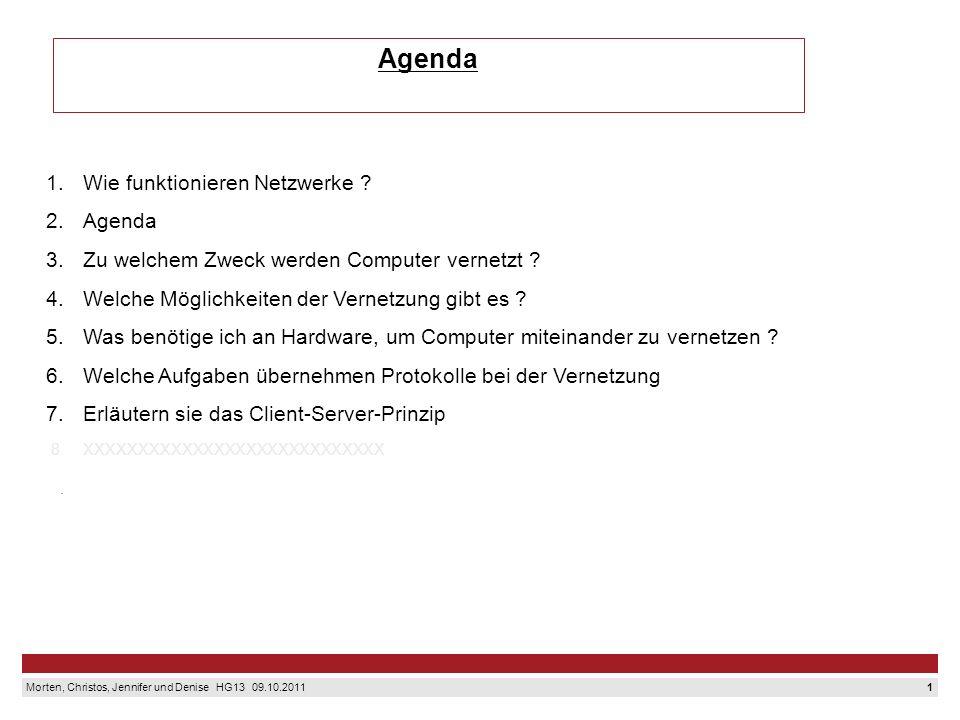 Agenda 1. Wie funktionieren Netzwerke 2. Agenda 3.