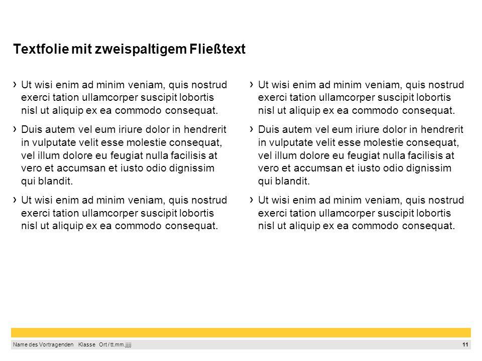 Textfolie mit zweispaltigem Fließtext