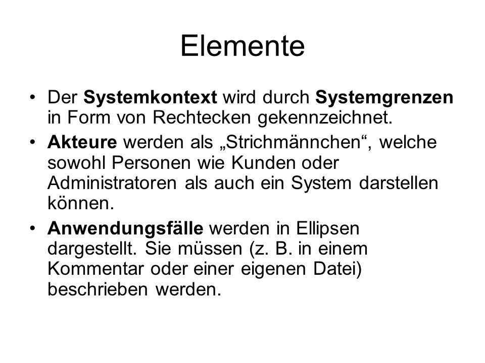 Elemente Der Systemkontext wird durch Systemgrenzen in Form von Rechtecken gekennzeichnet.