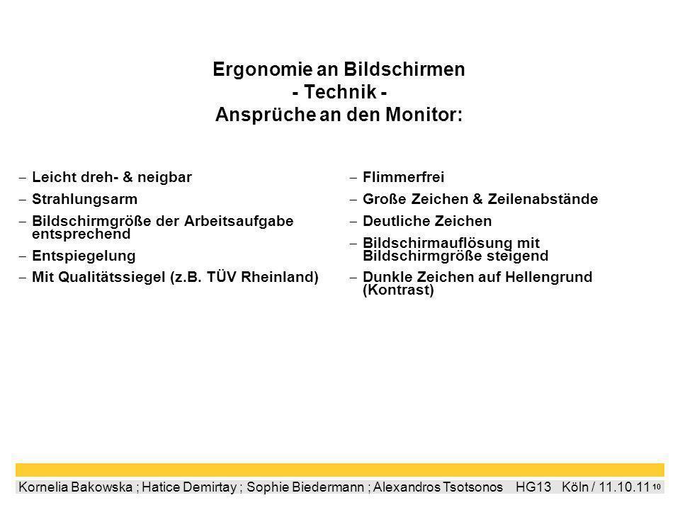 Ergonomie an Bildschirmen - Technik - Ansprüche an den Monitor: