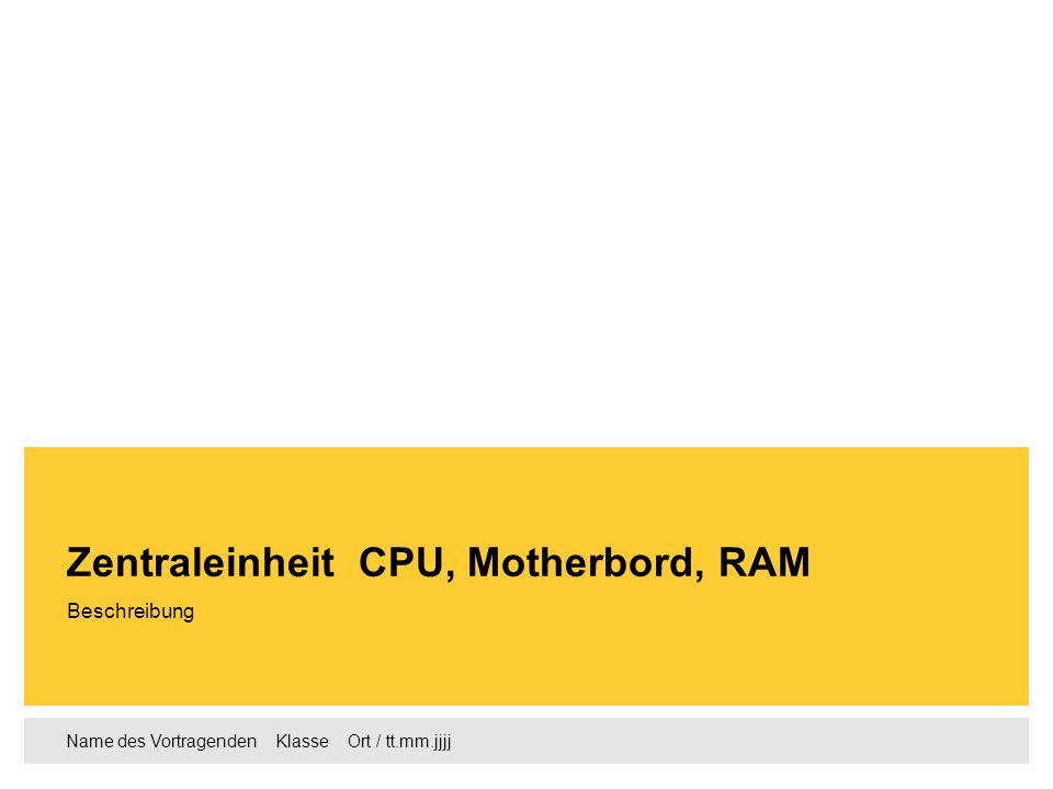 Zentraleinheit CPU, Motherbord, RAM