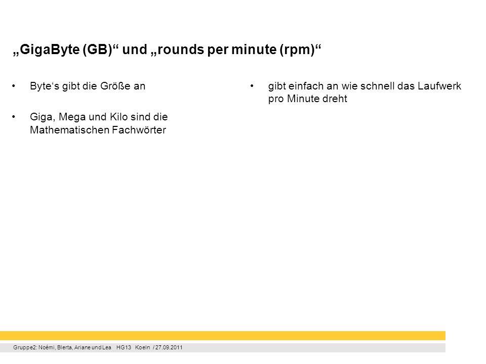 """GigaByte (GB) und ""rounds per minute (rpm)"