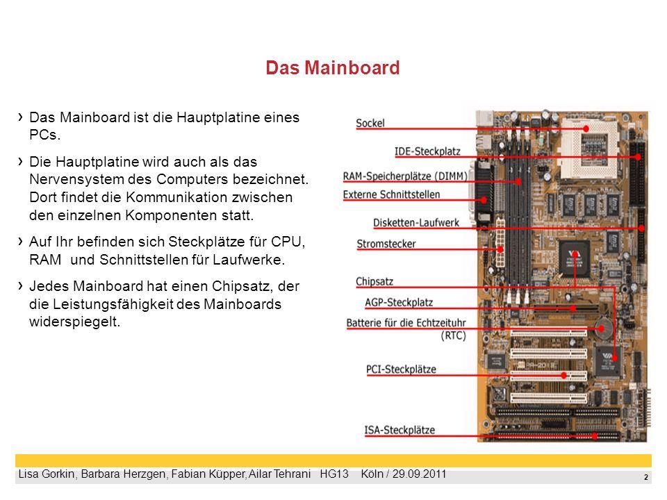 Das Mainboard Das Mainboard ist die Hauptplatine eines PCs.