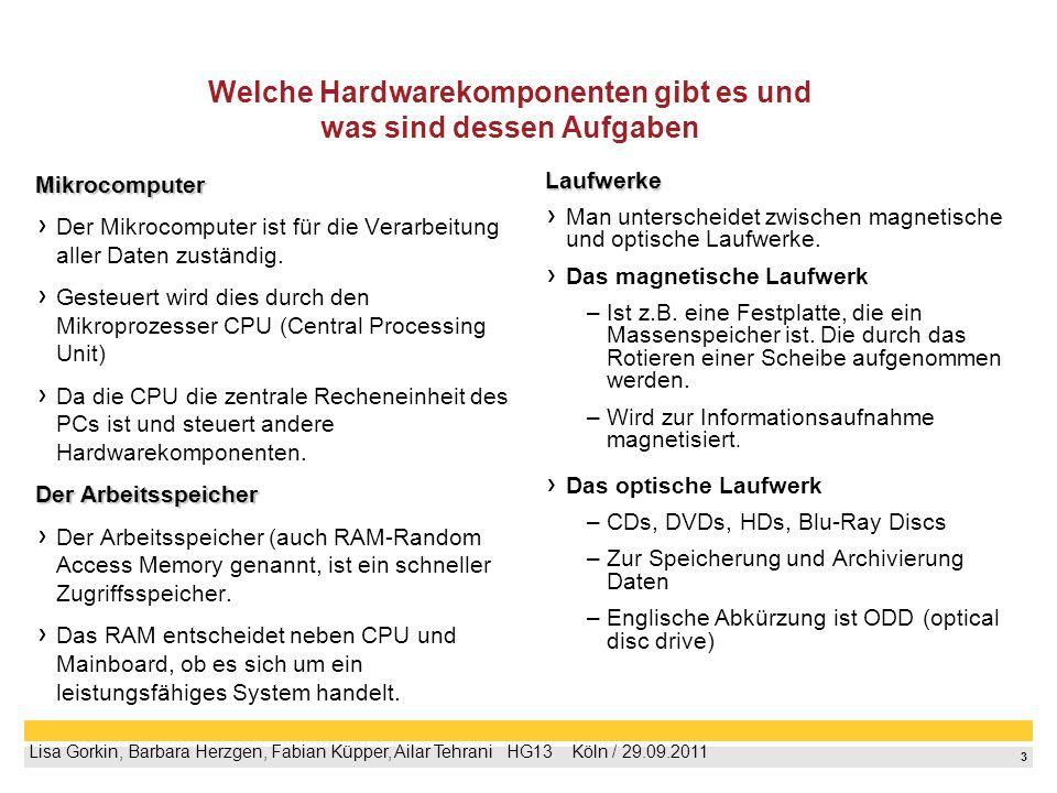 Welche Hardwarekomponenten gibt es und was sind dessen Aufgaben
