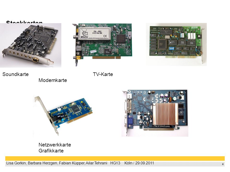 Steckkarten Soundkarte TV-Karte Modemkarte Netzwerkkarte Grafikkarte