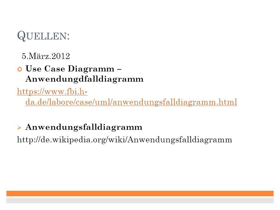 Quellen: 5.März.2012 Use Case Diagramm – Anwendungdfalldiagramm
