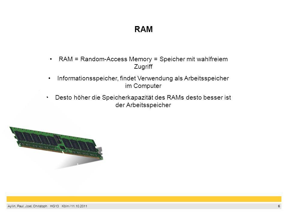 RAM = Random-Access Memory = Speicher mit wahlfreiem Zugriff
