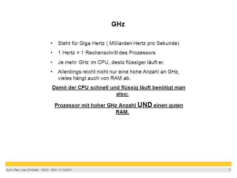 GHz Steht für Giga Hertz ( Milliarden Hertz pro Sekunde)