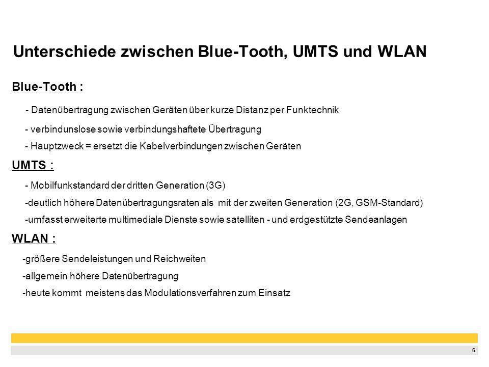 Unterschiede zwischen Blue-Tooth, UMTS und WLAN
