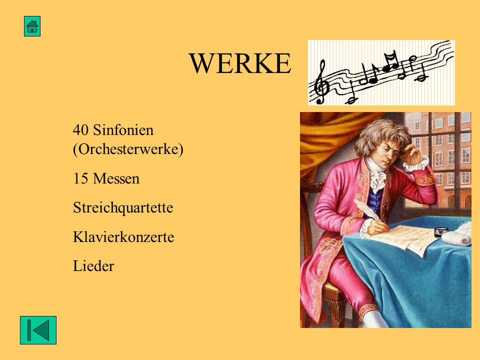 WERKE 40 Sinfonien (Orchesterwerke) 15 Messen Streichquartette