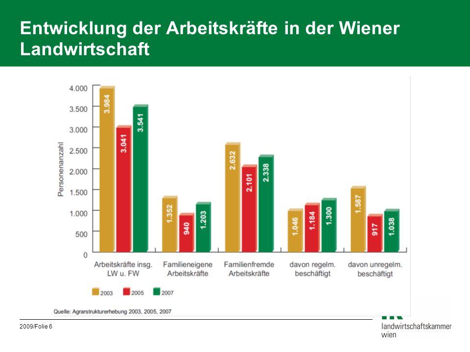 Entwicklung der Arbeitskräfte in der Wiener Landwirtschaft