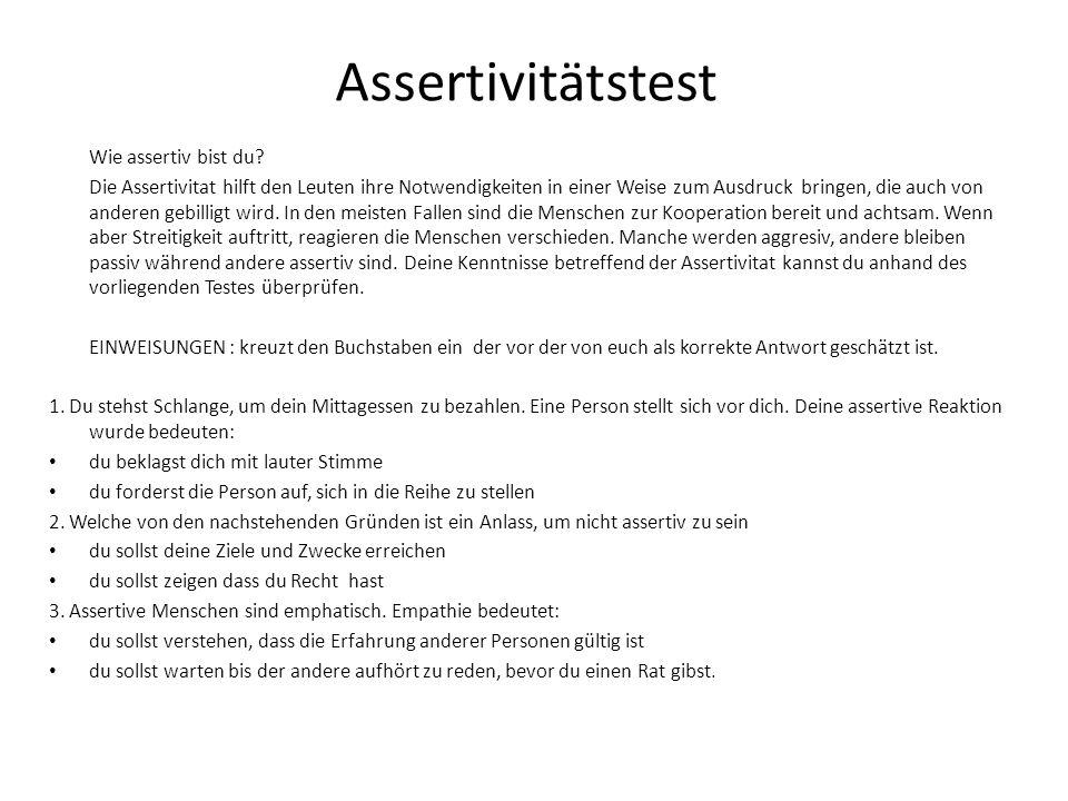 Assertivitätstest Wie assertiv bist du