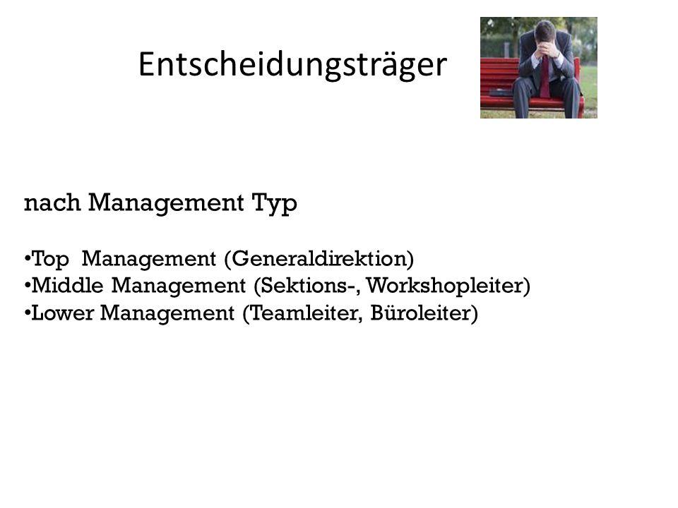 Entscheidungsträger nach Management Typ