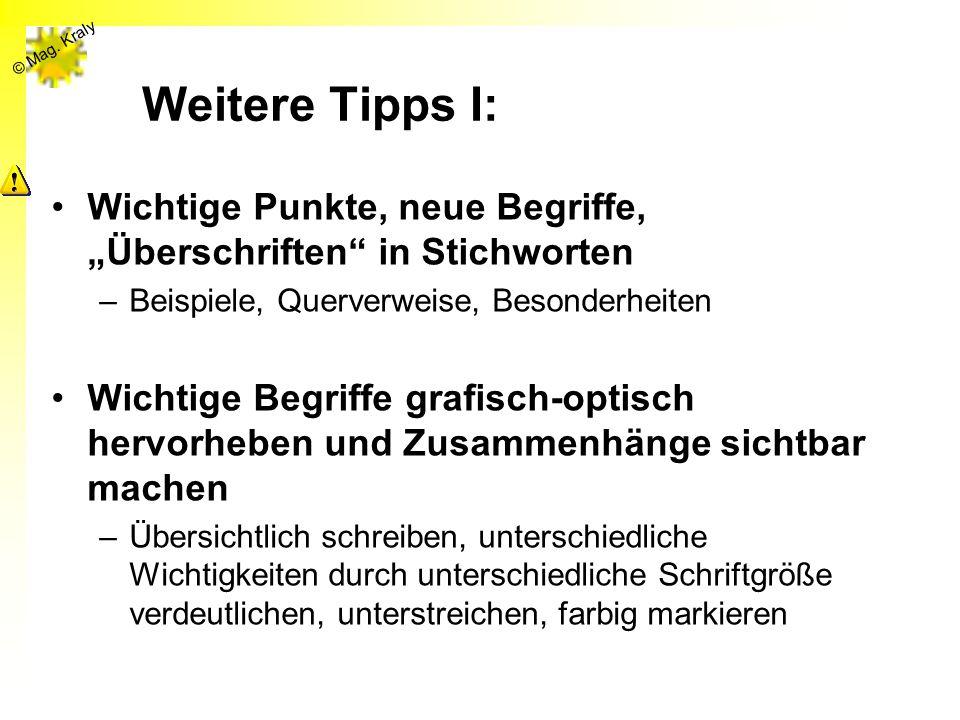 """Weitere Tipps I: Wichtige Punkte, neue Begriffe, """"Überschriften in Stichworten. Beispiele, Querverweise, Besonderheiten."""