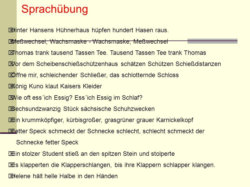 Sprachübung Hinter Hansens Hühnerhaus hüpfen hundert Hasen raus.