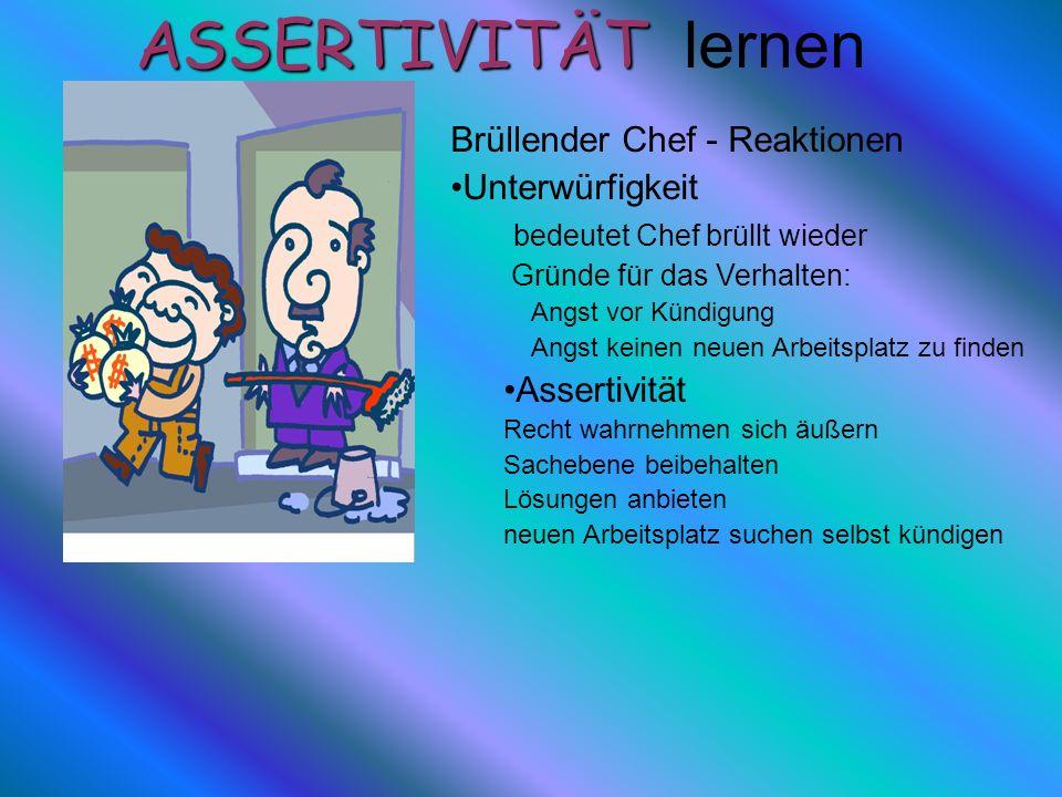 ASSERTIVITÄT lernen Brüllender Chef - Reaktionen Unterwürfigkeit