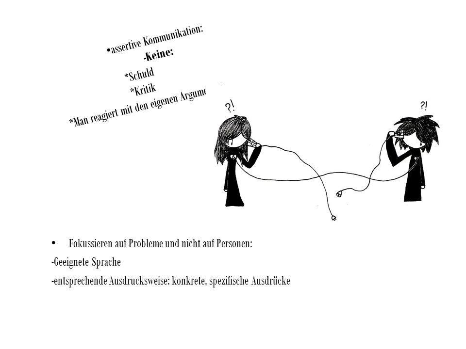 assertive Kommunikation: -Keine: *Schuld