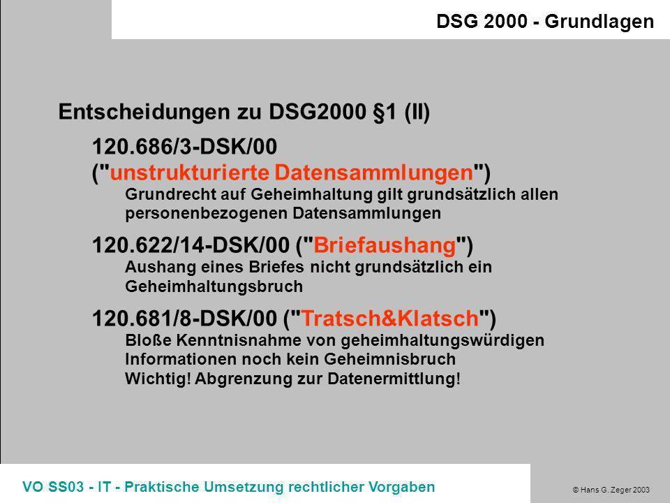 Entscheidungen zu DSG2000 §1 (II)