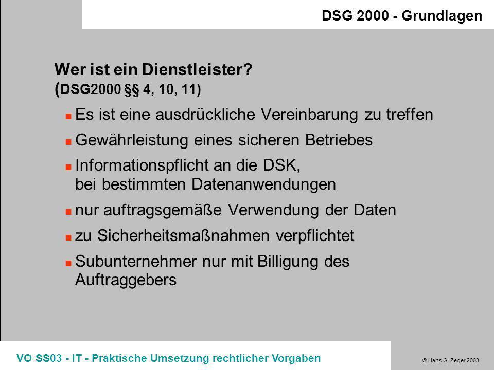Wer ist ein Dienstleister (DSG2000 §§ 4, 10, 11)