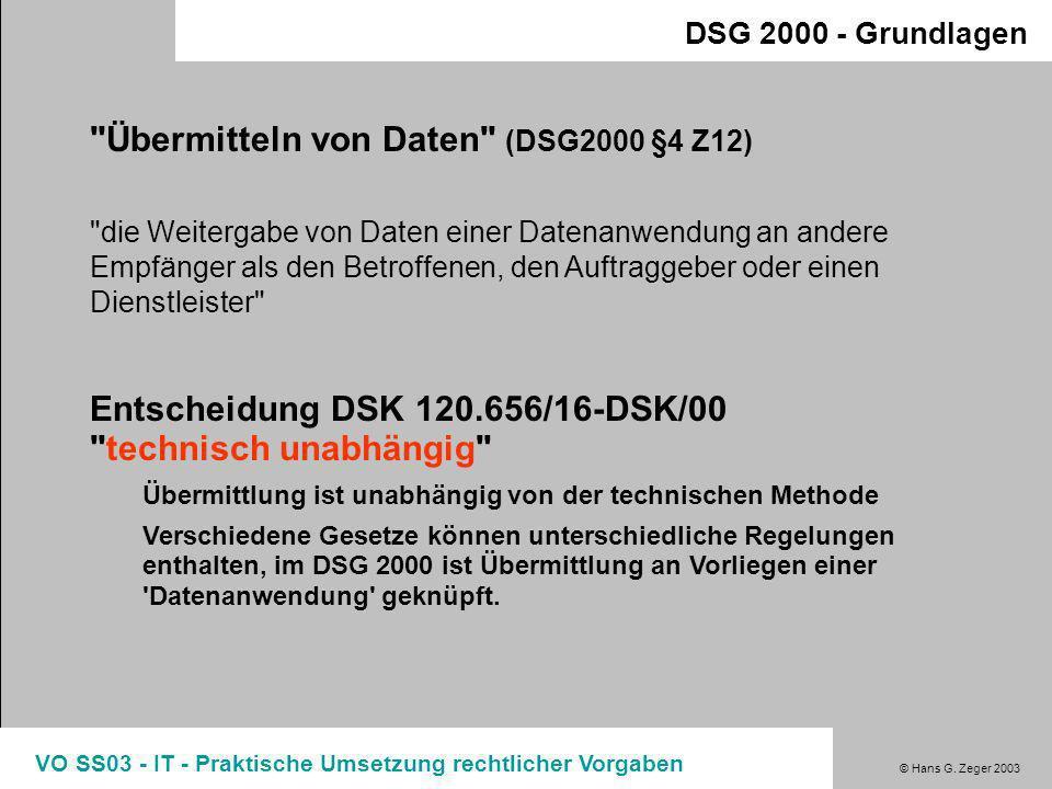 Übermitteln von Daten (DSG2000 §4 Z12)