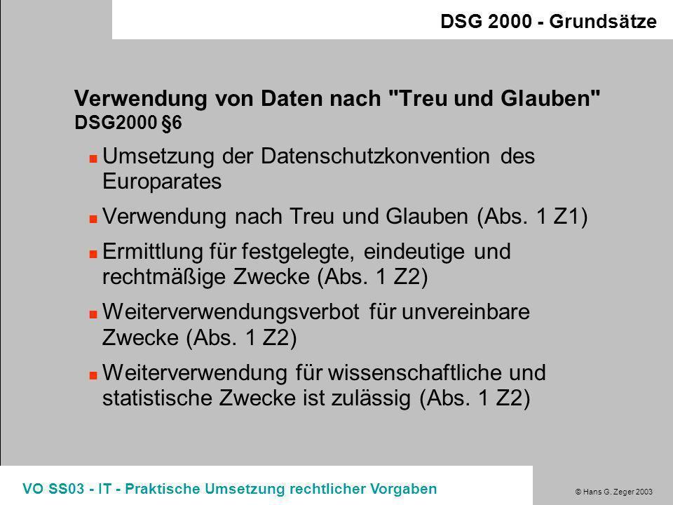 Verwendung von Daten nach Treu und Glauben DSG2000 §6