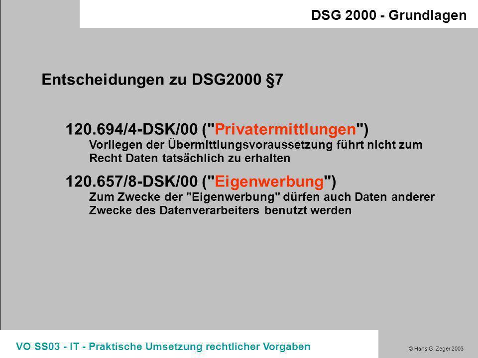 Entscheidungen zu DSG2000 §7