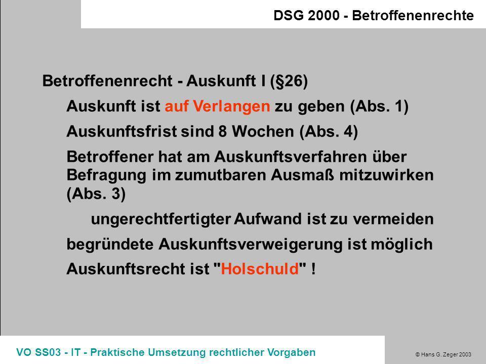 Betroffenenrecht - Auskunft I (§26)