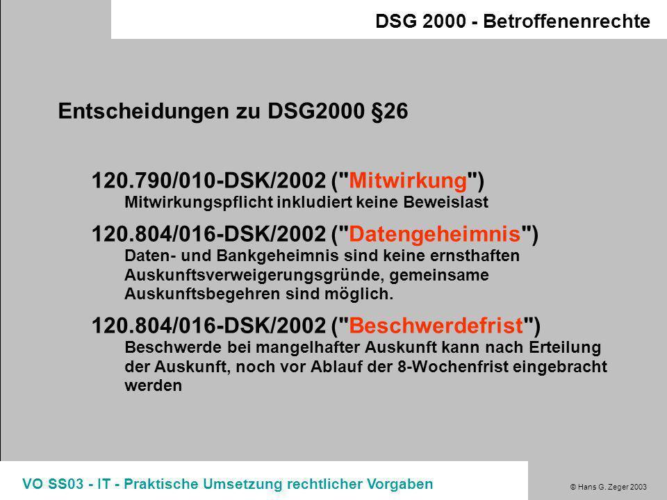 Entscheidungen zu DSG2000 §26