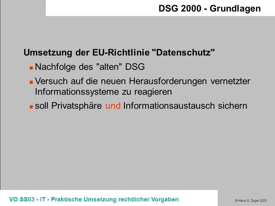Umsetzung der EU-Richtlinie Datenschutz Nachfolge des alten DSG