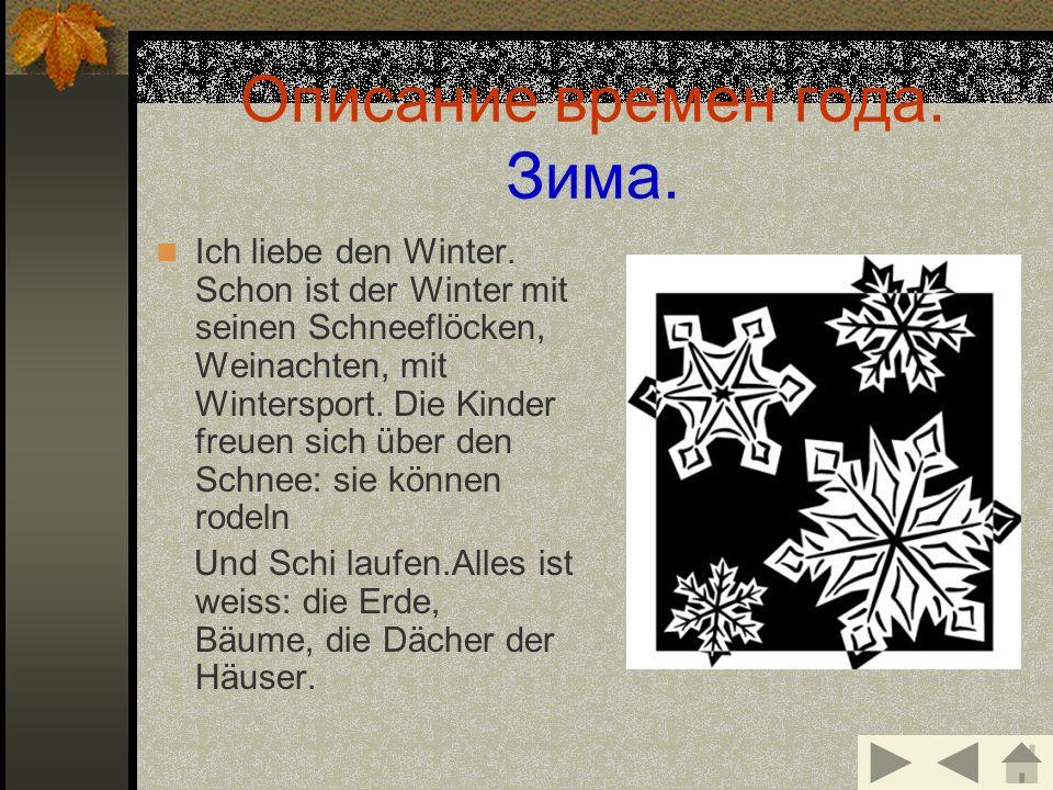 Описание времен года. Зима.