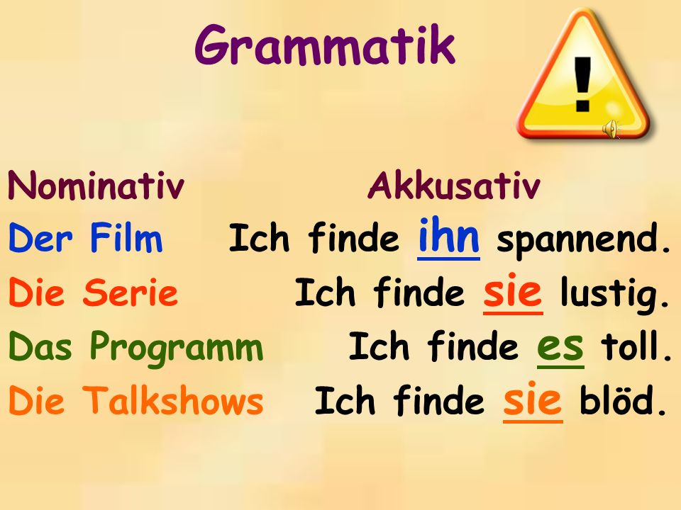 Grammatik Nominativ Akkusativ Der Film Ich finde ihn spannend.