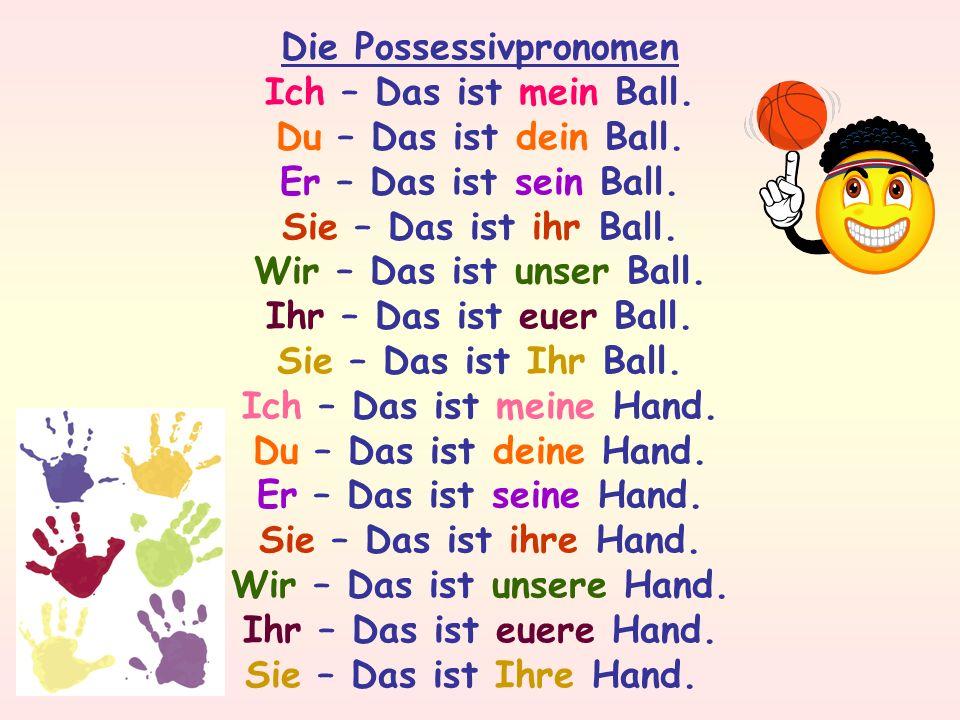 Die Possessivpronomen Wir – Das ist unsere Hand.