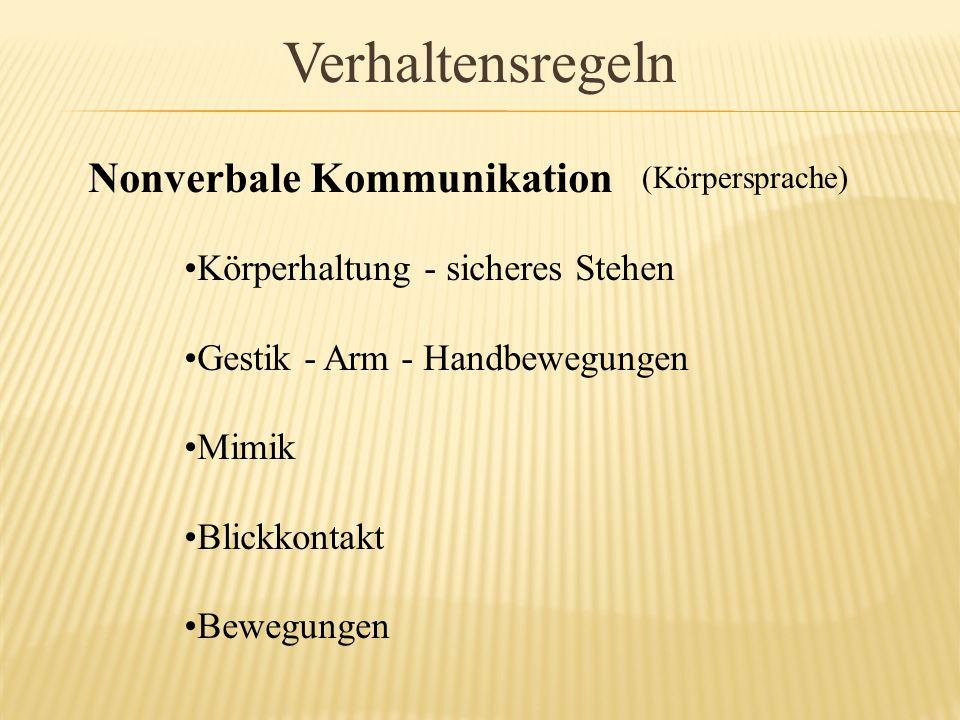 Verhaltensregeln Nonverbale Kommunikation