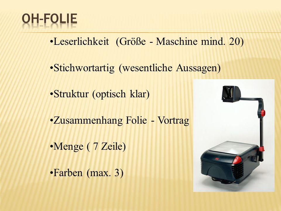OH-Folie Leserlichkeit (Größe - Maschine mind. 20)
