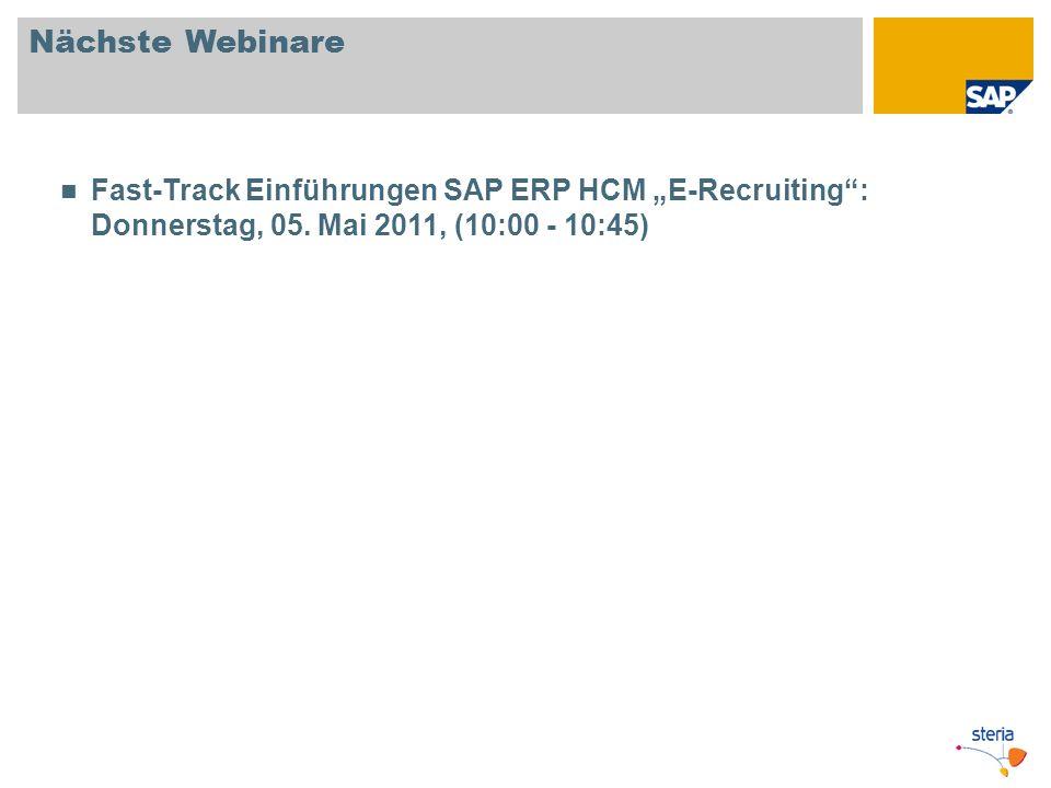 """Nächste Webinare Fast-Track Einführungen SAP ERP HCM """"E-Recruiting : Donnerstag, 05."""