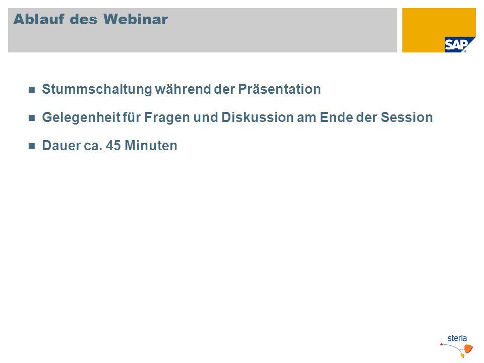 Ablauf des Webinar Stummschaltung während der Präsentation