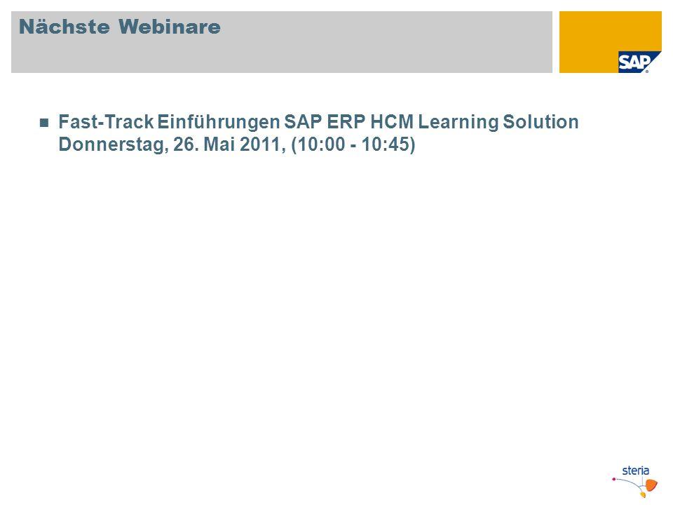 Nächste Webinare Fast-Track Einführungen SAP ERP HCM Learning Solution Donnerstag, 26.