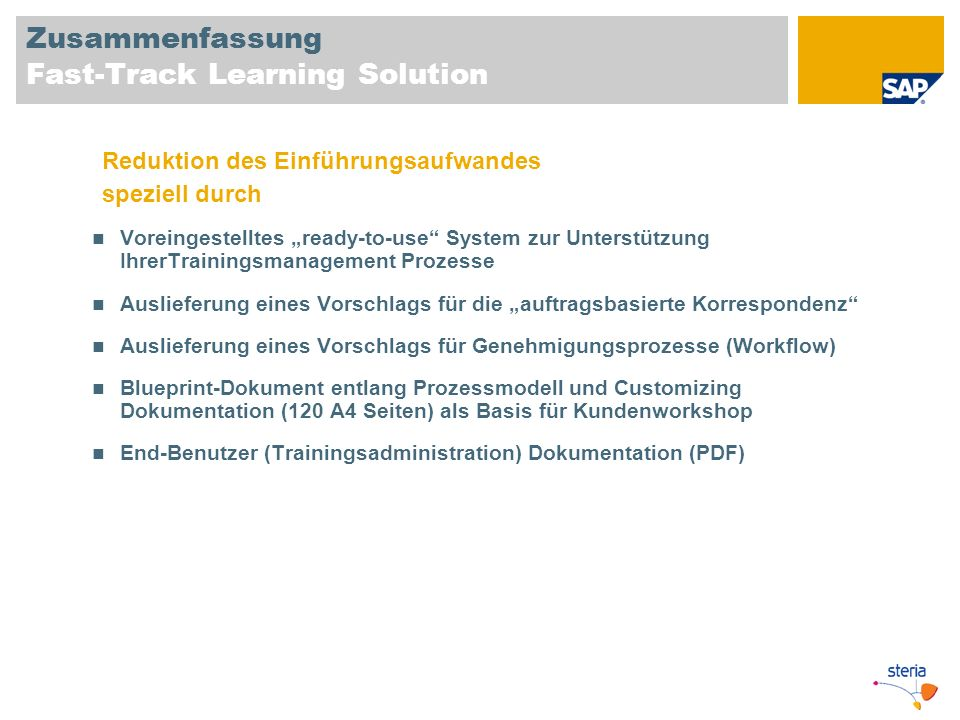 Zusammenfassung Fast-Track Learning Solution