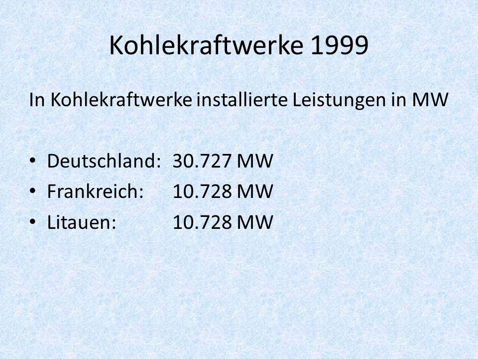 Kohlekraftwerke 1999 In Kohlekraftwerke installierte Leistungen in MW