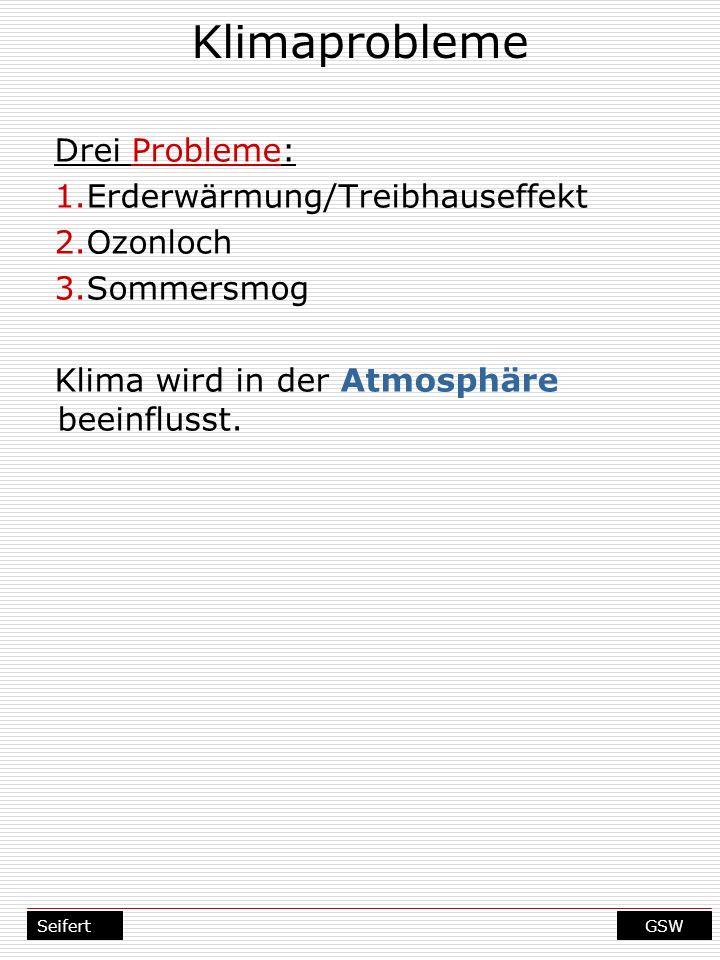 Klimaprobleme Drei Probleme: Erderwärmung/Treibhauseffekt Ozonloch