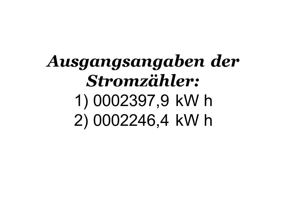 Ausgangsangaben der Stromzähler: 1) 0002397,9 kW h 2) 0002246,4 kW h