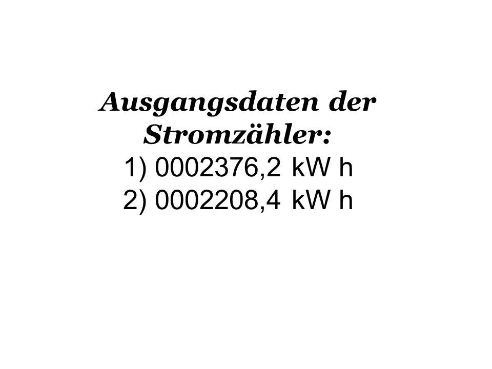 Ausgangsdaten der Stromzähler: 1) 0002376,2 kW h 2) 0002208,4 kW h
