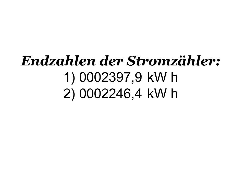 Endzahlen der Stromzähler: 1) 0002397,9 kW h 2) 0002246,4 kW h