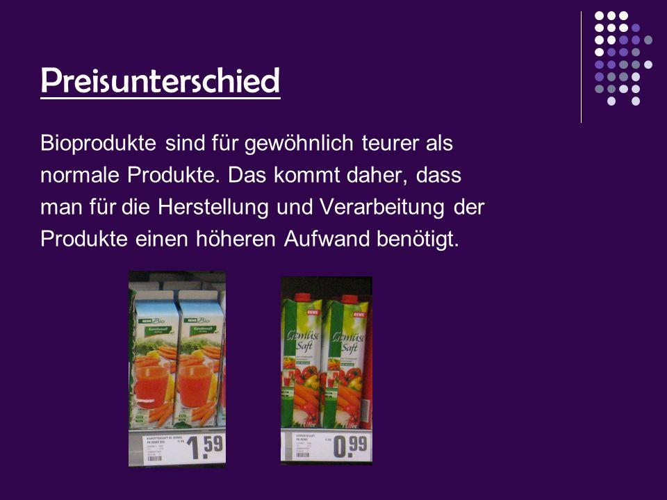 Preisunterschied Bioprodukte sind für gewöhnlich teurer als