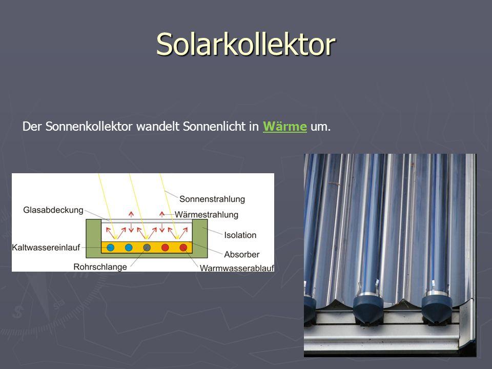 Solarkollektor Der Sonnenkollektor wandelt Sonnenlicht in Wärme um.