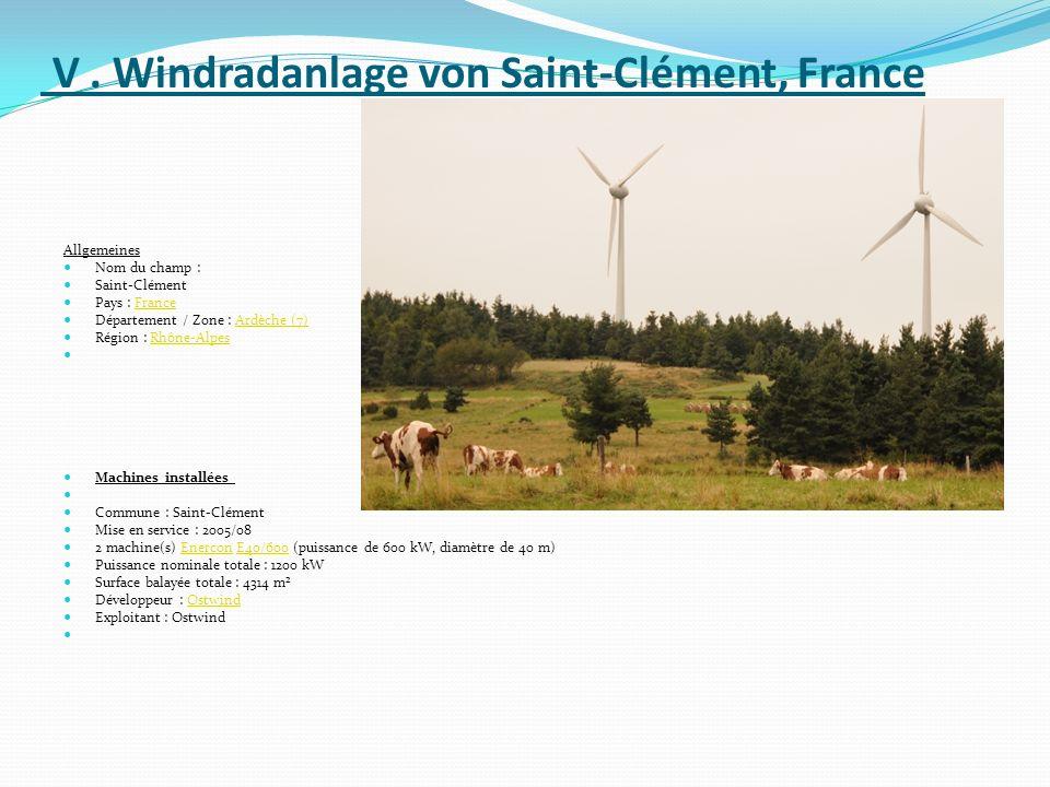 V . Windradanlage von Saint-Clément, France