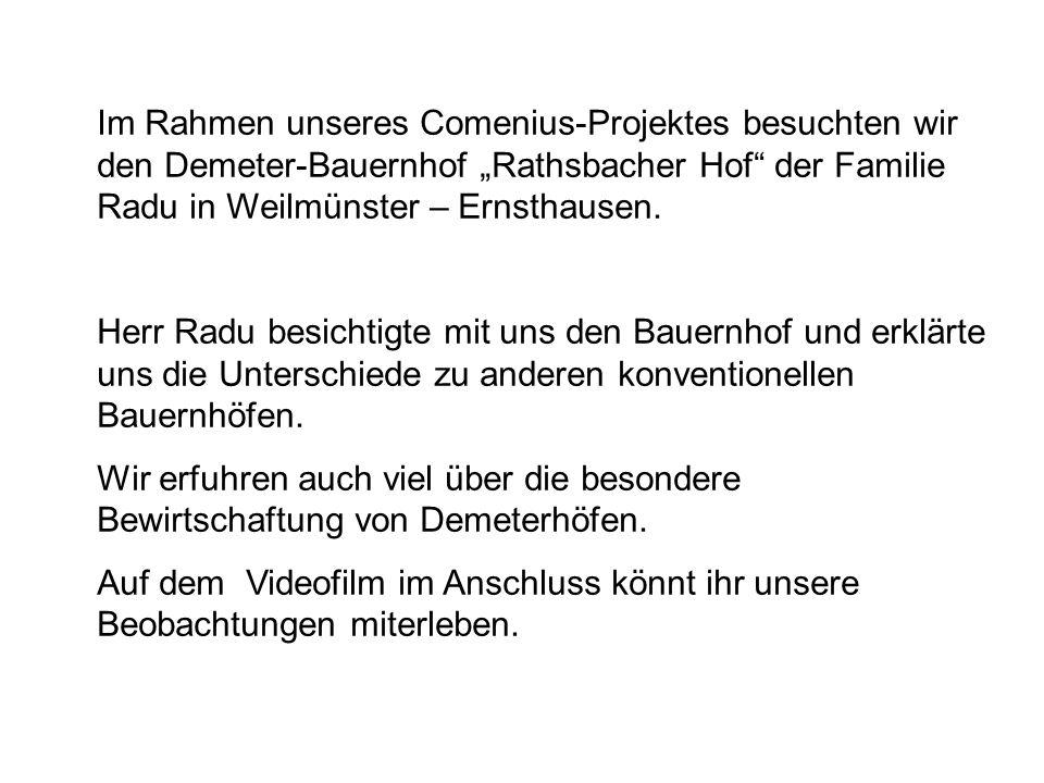 """Im Rahmen unseres Comenius-Projektes besuchten wir den Demeter-Bauernhof """"Rathsbacher Hof der Familie Radu in Weilmünster – Ernsthausen."""