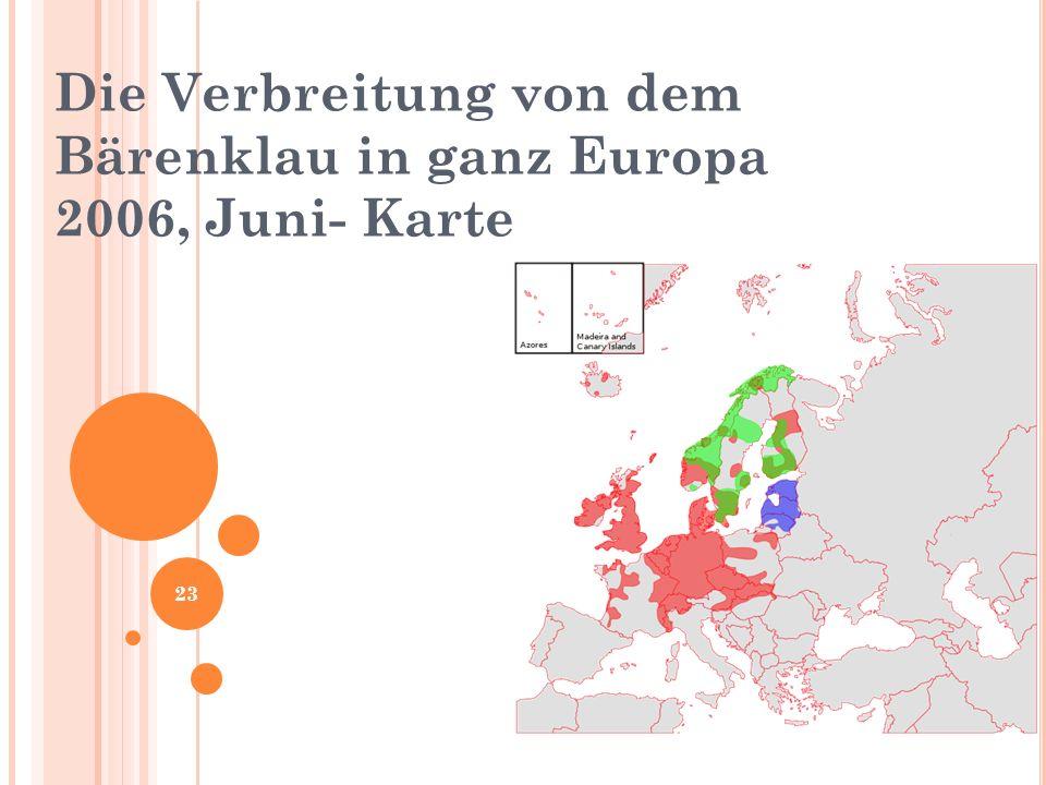 Die Verbreitung von dem Bärenklau in ganz Europa 2006, Juni- Karte